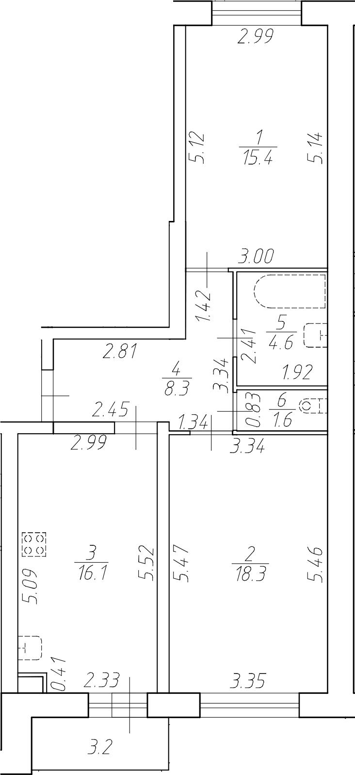 3Е-к.кв, 64.3 м²