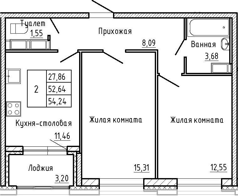 2-к.кв, 55.84 м²
