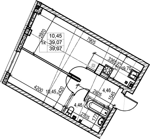 2Е-комнатная, 39.07 м²– 2