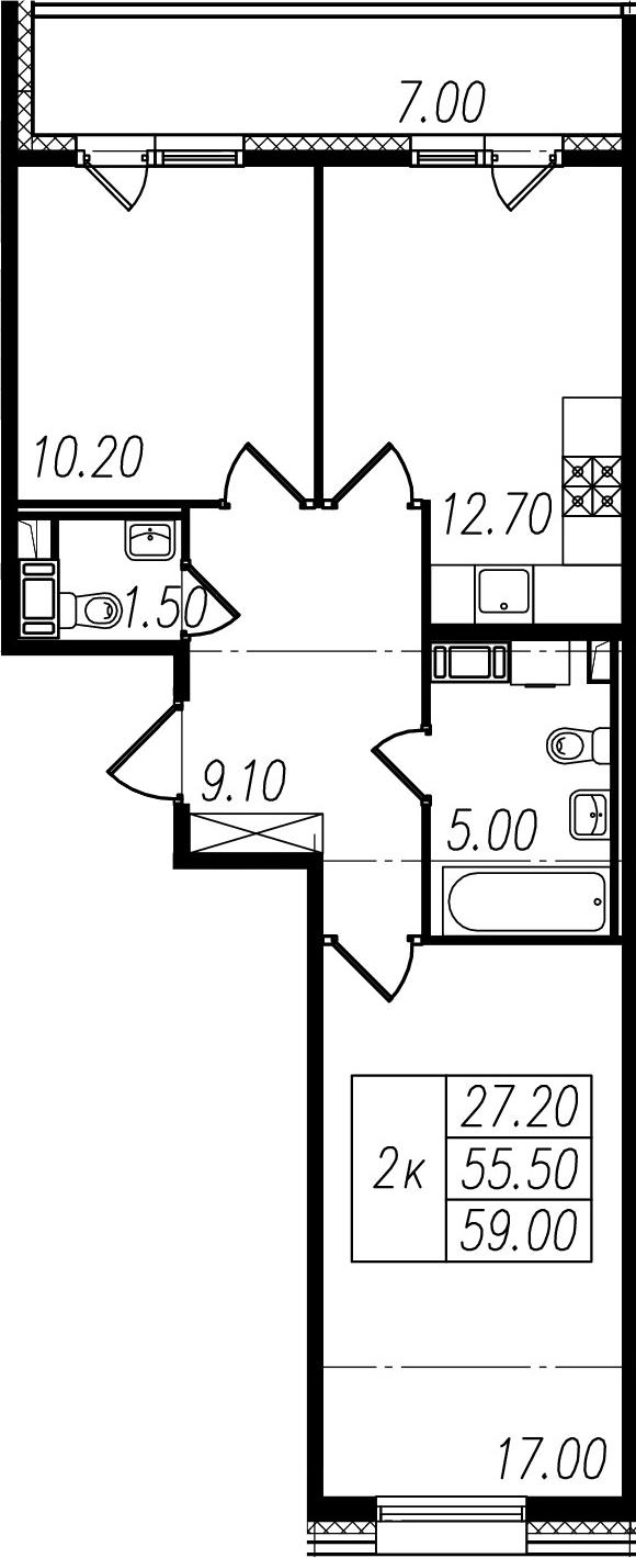 2-к.кв, 55.5 м², 9 этаж