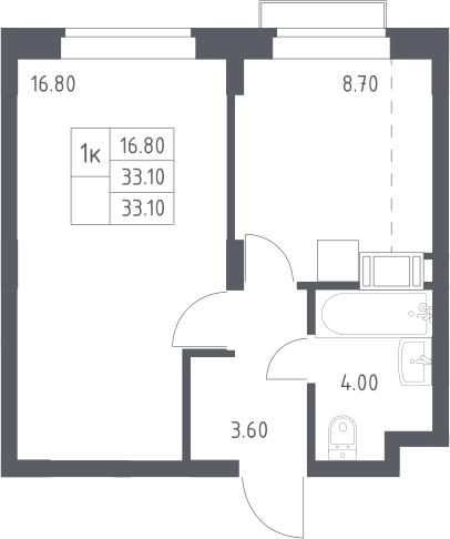1-к.кв, 33.1 м²