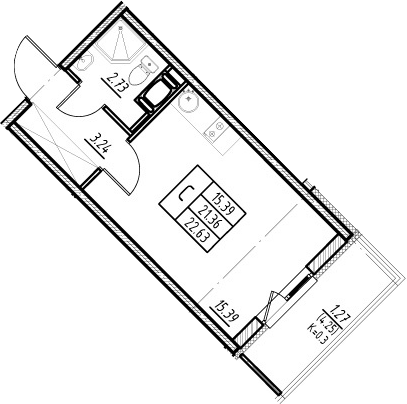 Студия, 25.61 м²