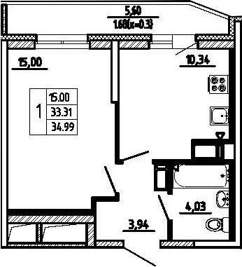 1-комнатная, 34.99 м²– 2