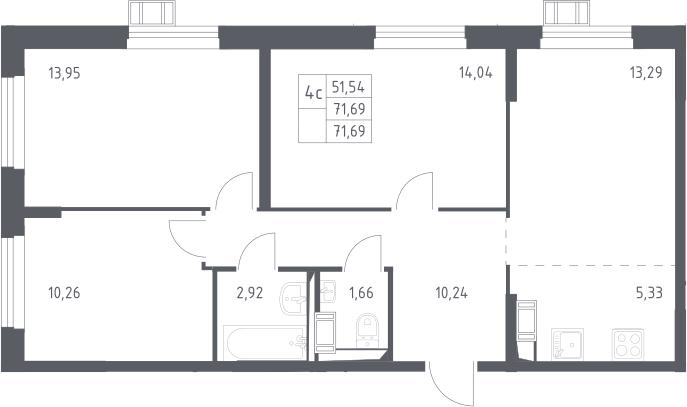 4Е-к.кв, 71.69 м², 17 этаж