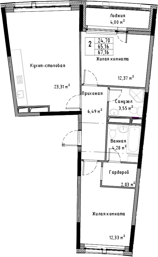 3Е-к.кв, 67.16 м²