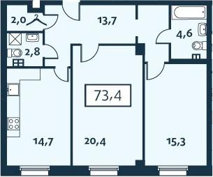 2-к.кв, 73.4 м²