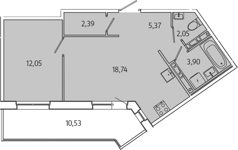 2Е-комнатная, 49.77 м²– 2