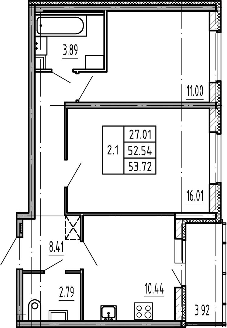 2-к.кв, 52.54 м²