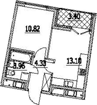 1-к.кв, 33.91 м², 9 этаж
