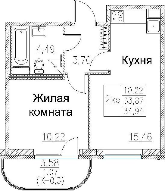2-к.кв (евро), 37.44 м²