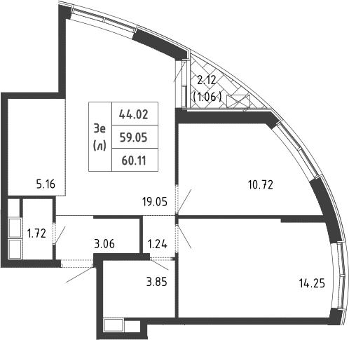 3Е-к.кв, 61 м², 2 этаж