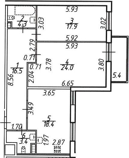 2-комнатная, 86.1 м²– 2