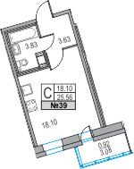 Студия, 25.56 м², 13 этаж
