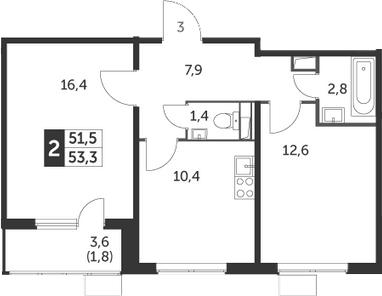 2-комнатная, 53.3 м²– 2