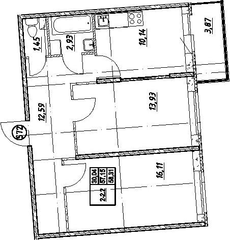 2-к.кв, 61.02 м²