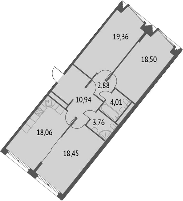 4-к.кв (евро), 95.96 м²