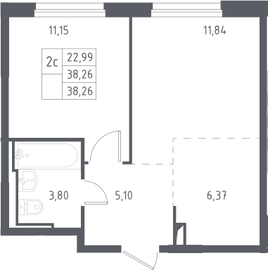 2Е-к.кв, 38.26 м², 12 этаж