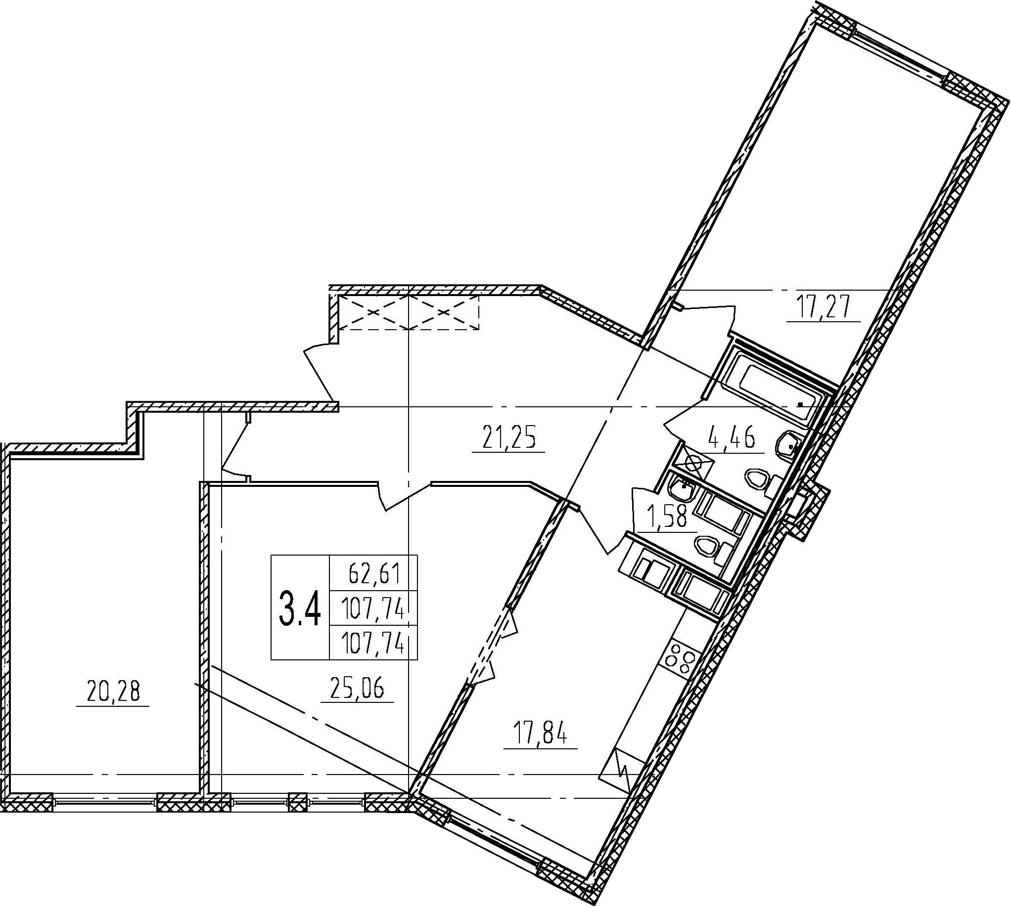 4Е-комнатная, 107.74 м²– 2