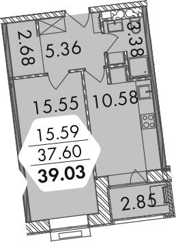1-комнатная, 38.98 м²– 2