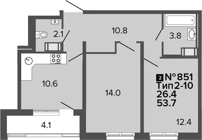 2-к.кв, 53.7 м², 4 этаж