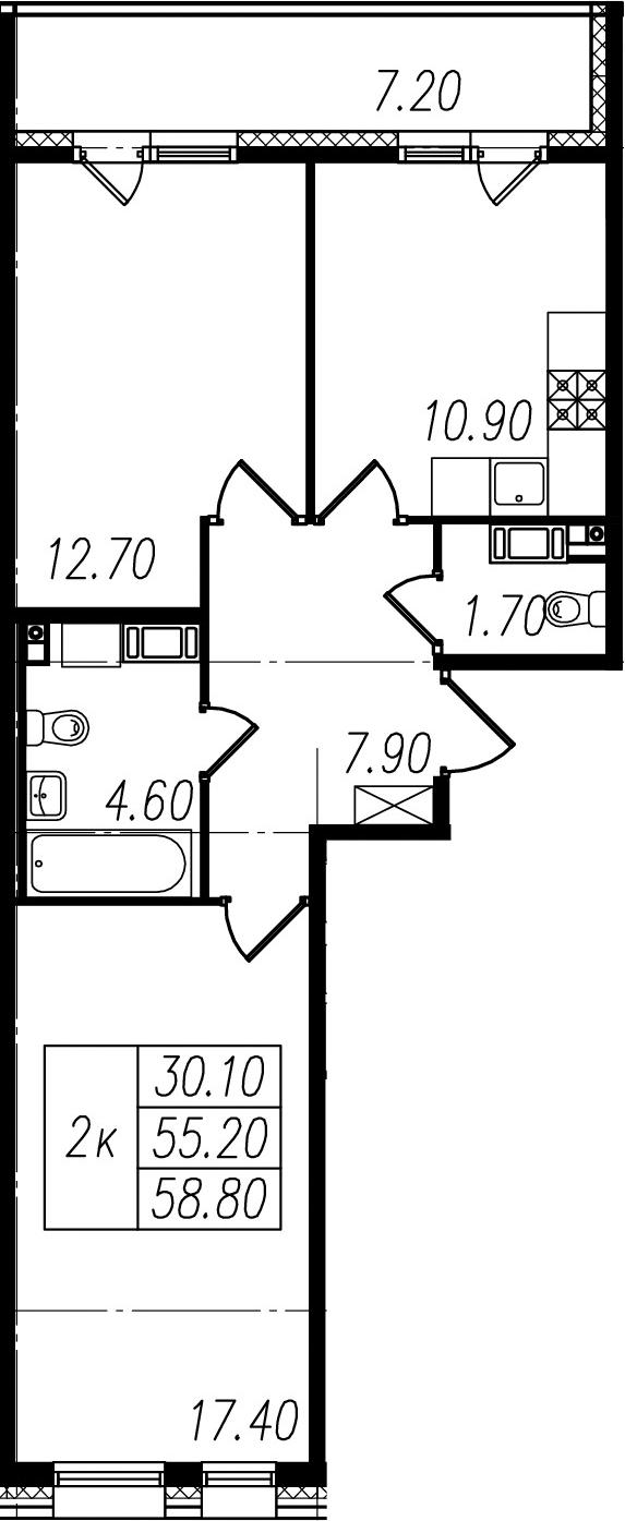 2-к.кв, 55.2 м², 7 этаж