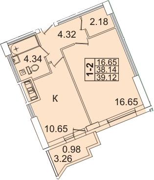 1-комнатная, 39.12 м²– 2