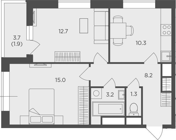 2-к.кв, 52.6 м², 23 этаж