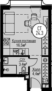 Студия, 24.3 м², 13 этаж