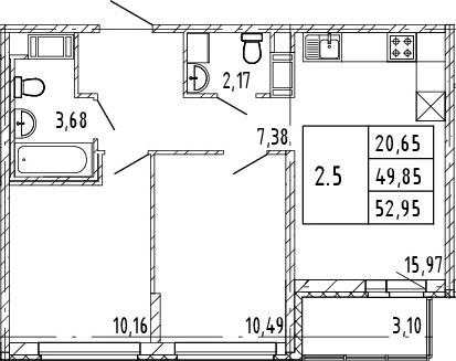 3Е-комнатная, 49.85 м²– 2