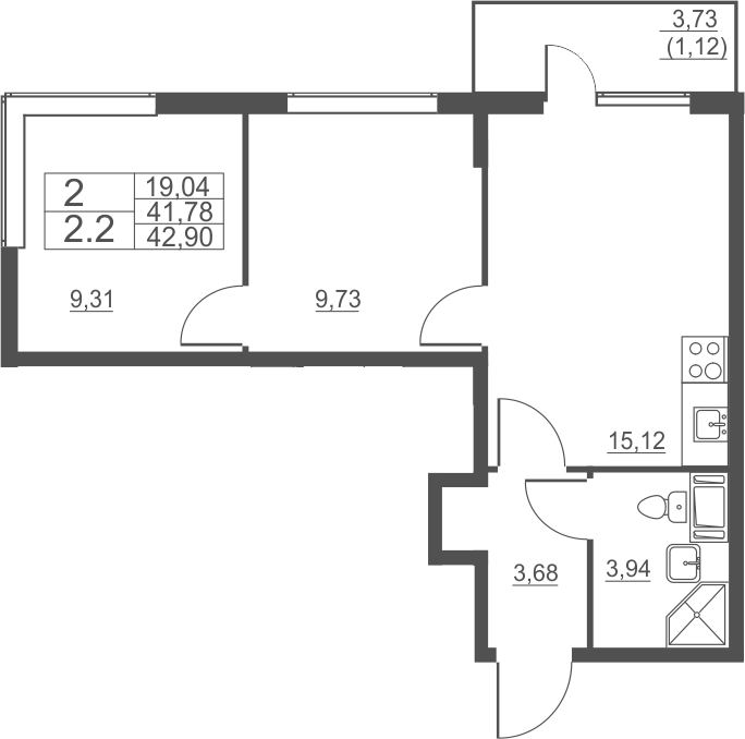 3Е-к.кв, 42.9 м²