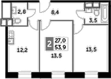 2-к.кв, 53.9 м², 14 этаж