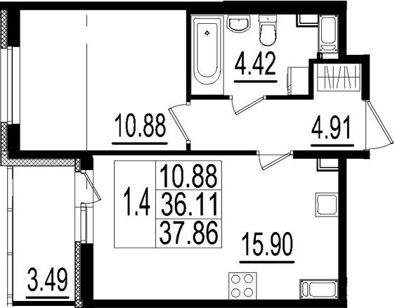 2Е-комнатная, 36.11 м²– 2