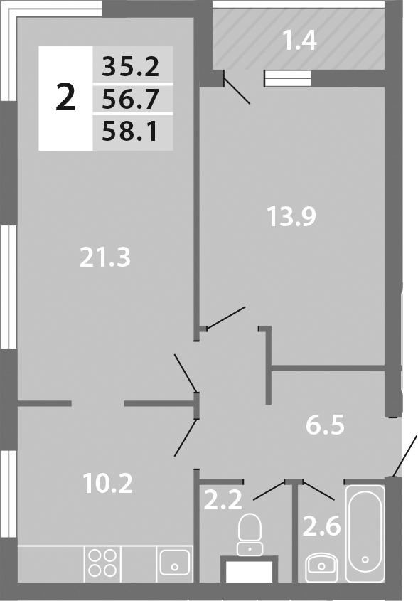 2-к.кв, 58.1 м², 14 этаж