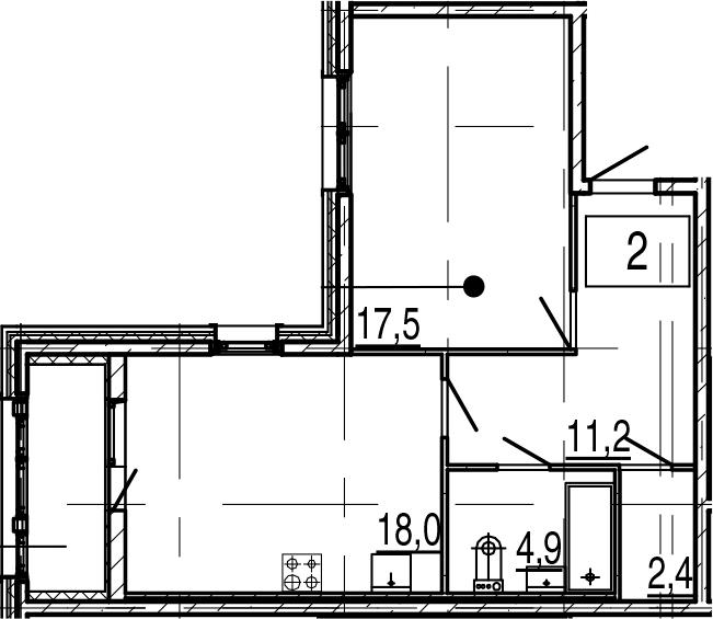 2-к.кв (евро), 58.2 м²