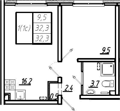 2Е-комнатная квартира, 32.3 м², 2 этаж – Планировка