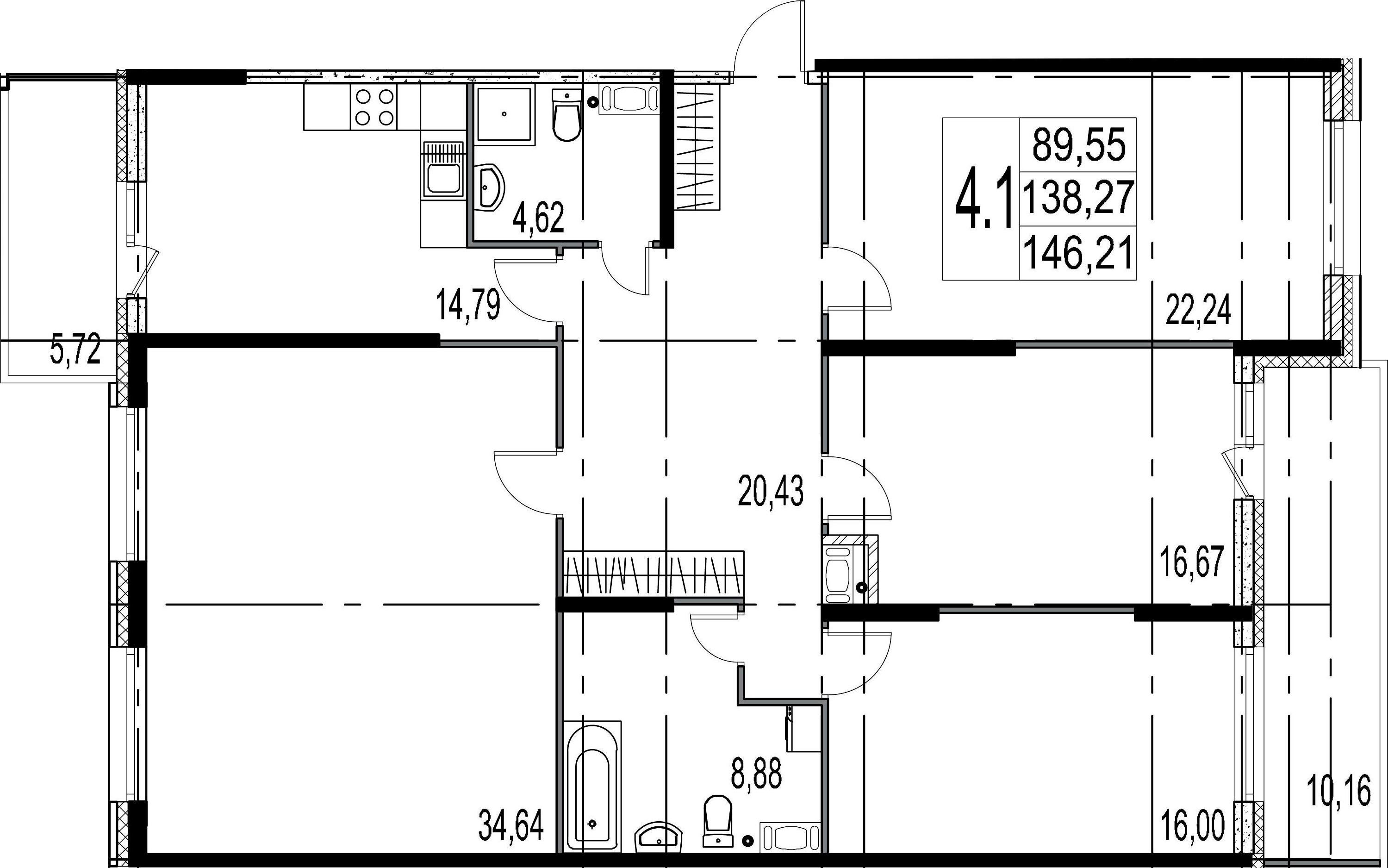 4-к.кв, 154.15 м²