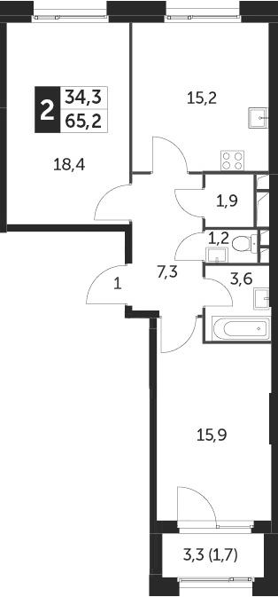 3-к.кв (евро), 66.9 м²