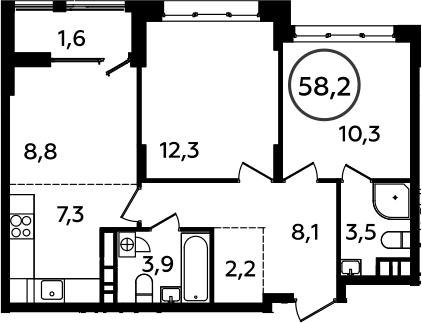 3Е-к.кв, 58.2 м², 11 этаж