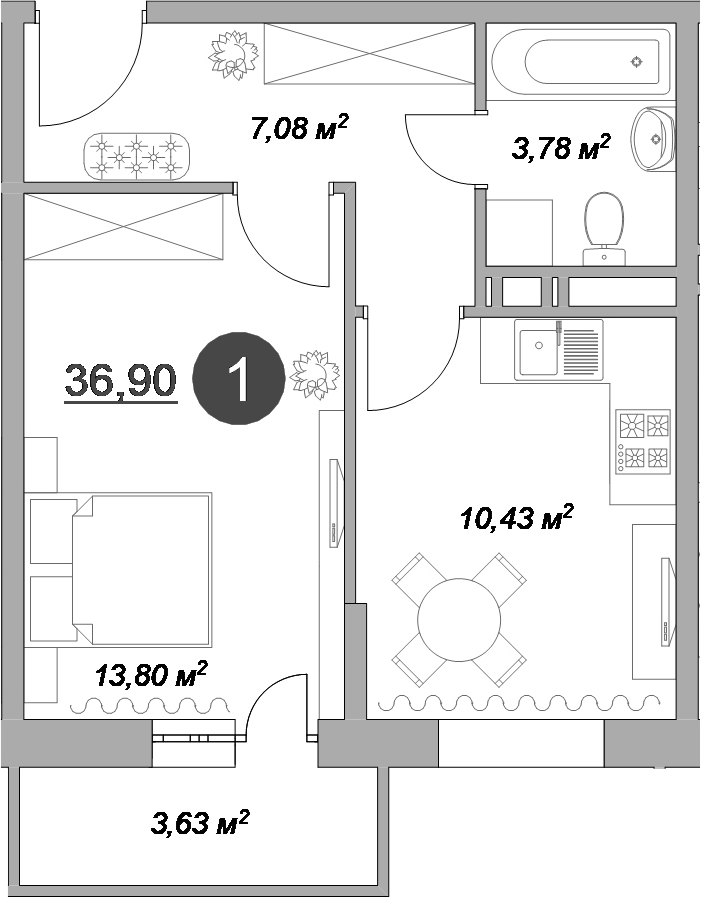 1-к.кв, 38.71 м²