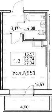 Студия, 22.74 м², 13 этаж