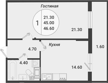 1-к.кв, 46.6 м²