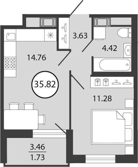 2Е-к.кв, 35.82 м², 12 этаж