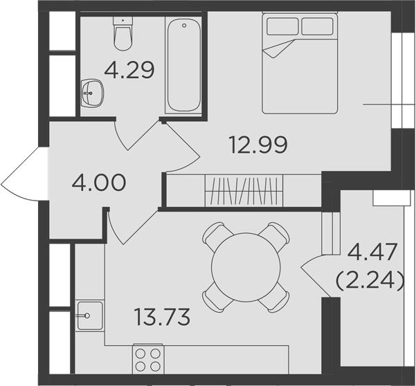 1-к.кв, 37.25 м²