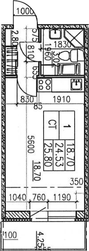 Студия, 28.78 м²