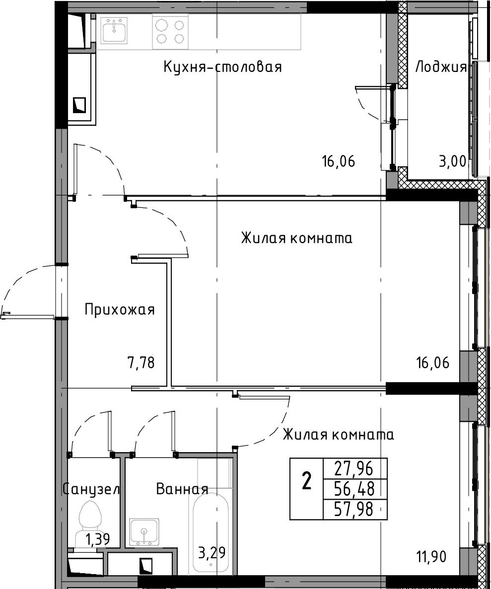 3-к.кв (евро), 59.48 м²