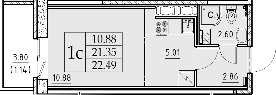 Студия, 22.49 м²– 2