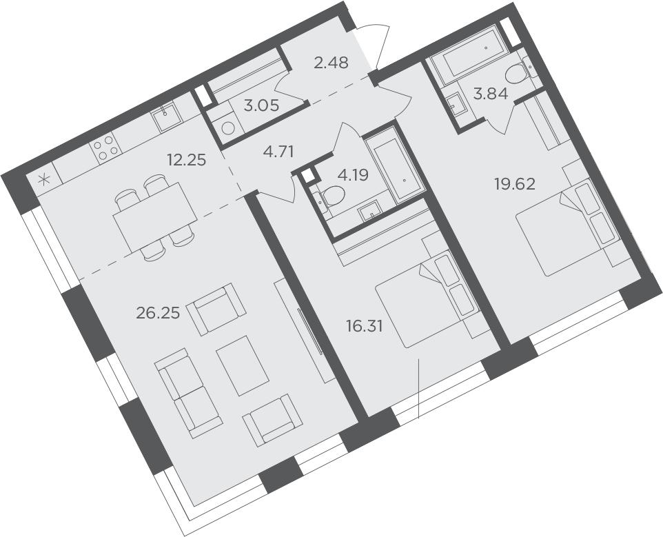 3Е-комнатная, 92.7 м²– 2