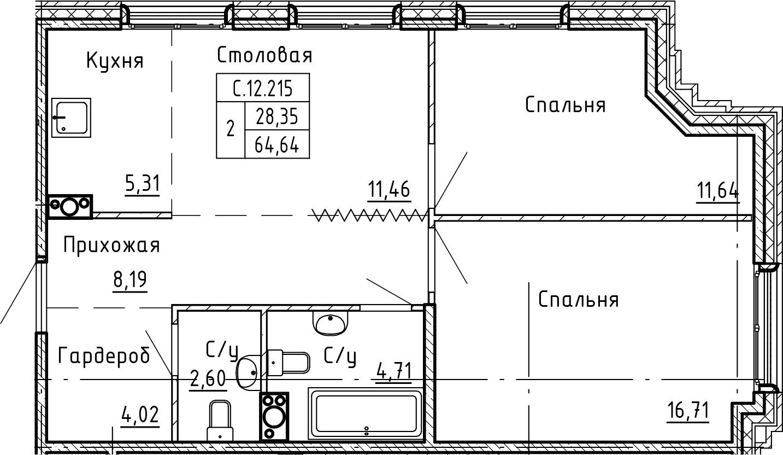 3Е-комнатная, 64.64 м²– 2