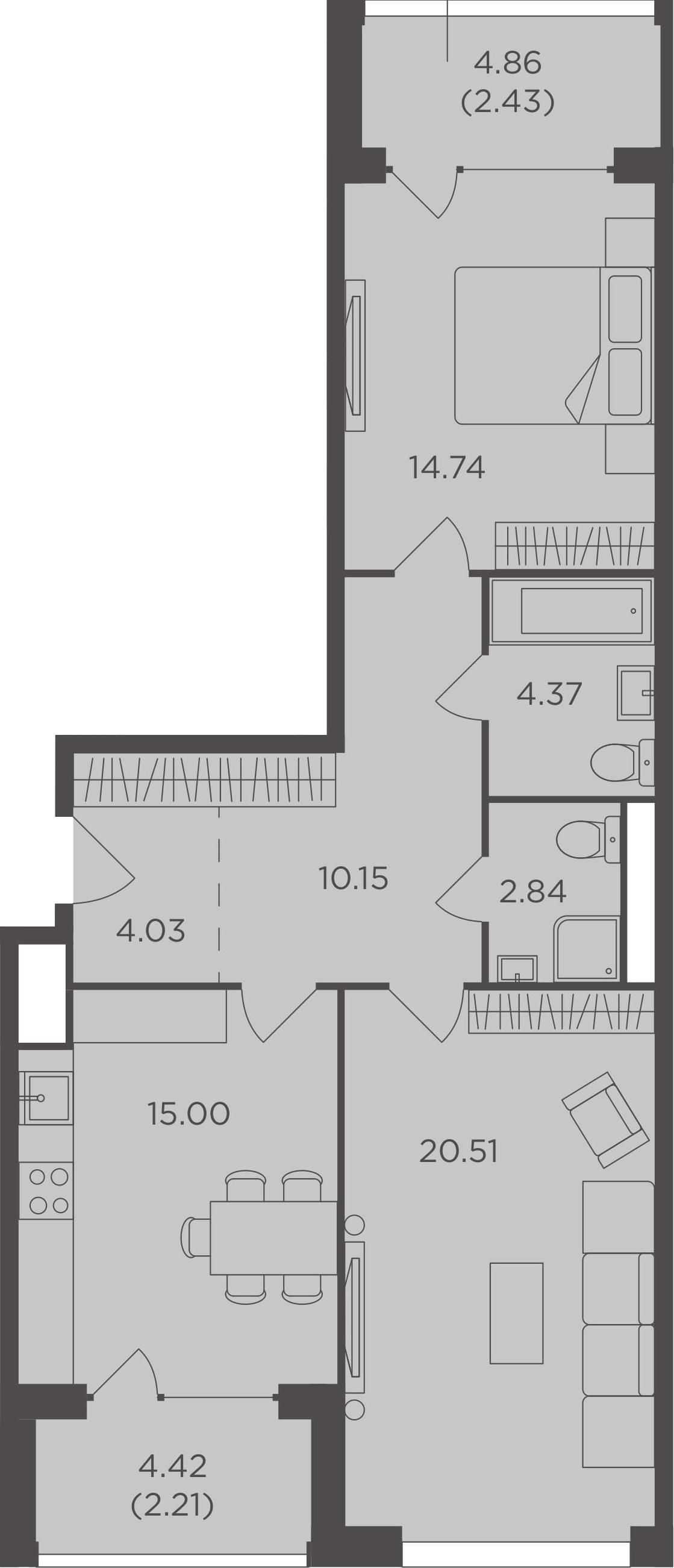 2-комнатная, 76.28 м²– 2