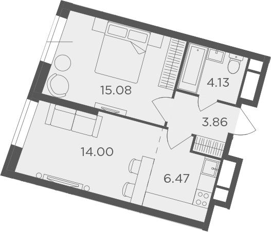 2Е-к.кв, 43.54 м²